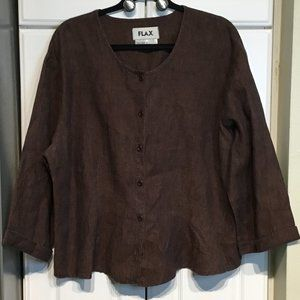 Flax Brown Linen Button Up Top Size Large